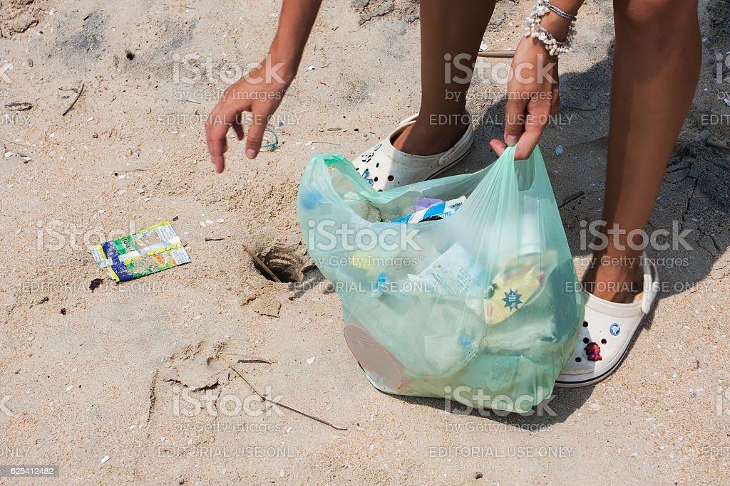 Beach pollution. stock photo