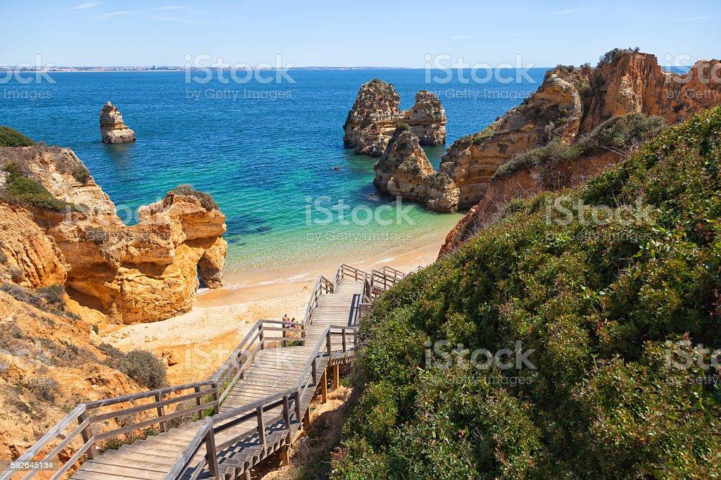 Beach Praia do Camilo, Algarve, Portugal stock photo