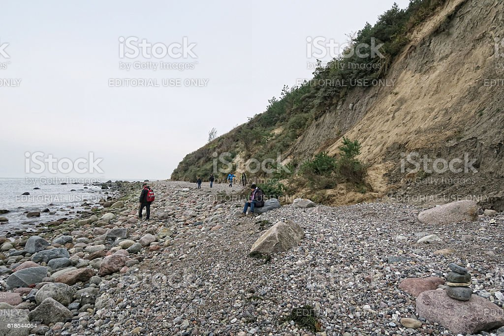 beach promenade of Vitte at Baltic sea island Hiddensee stock photo