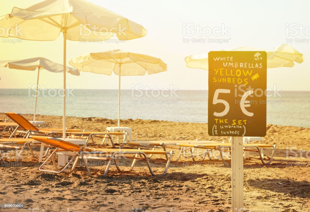 Beach rental service concept stock photo