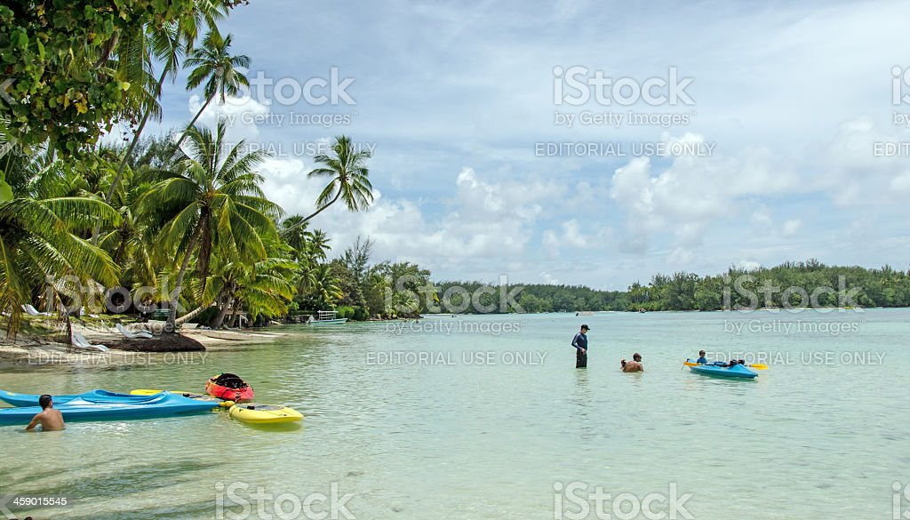 Beach Rentals and Lagoon Moorea, Tahiti royalty-free stock photo