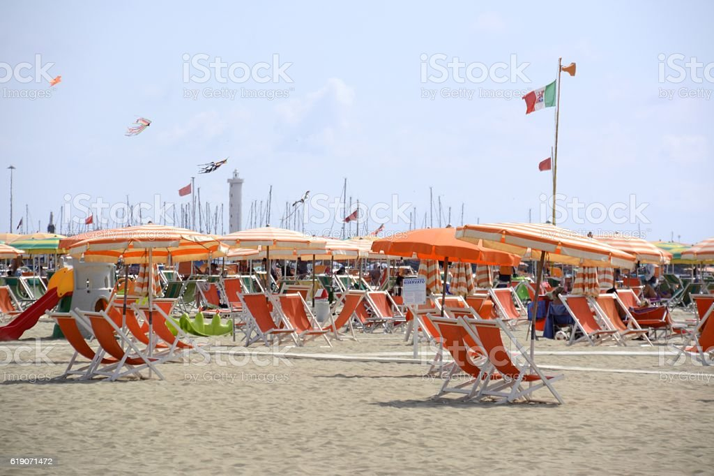 Beach resort in Viareggio, Tuscany, Italy stock photo