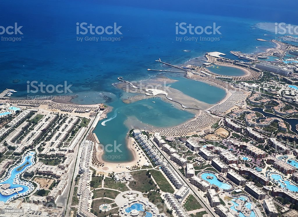 Beach resort seen from the airplane, Hurghada stock photo