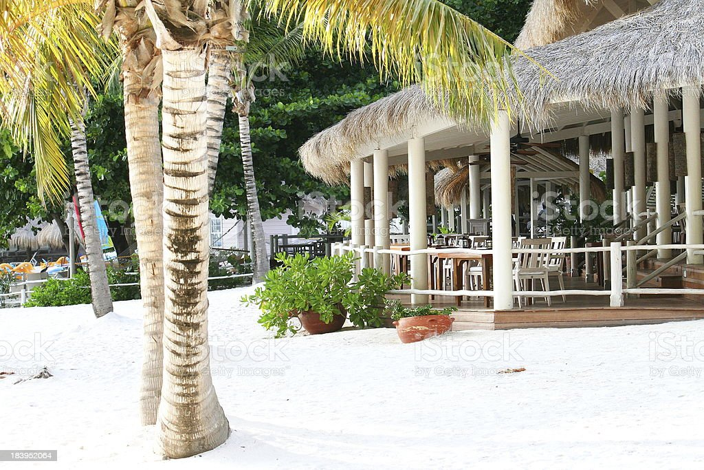 Beach restaurant and bar in St Lucia stock photo