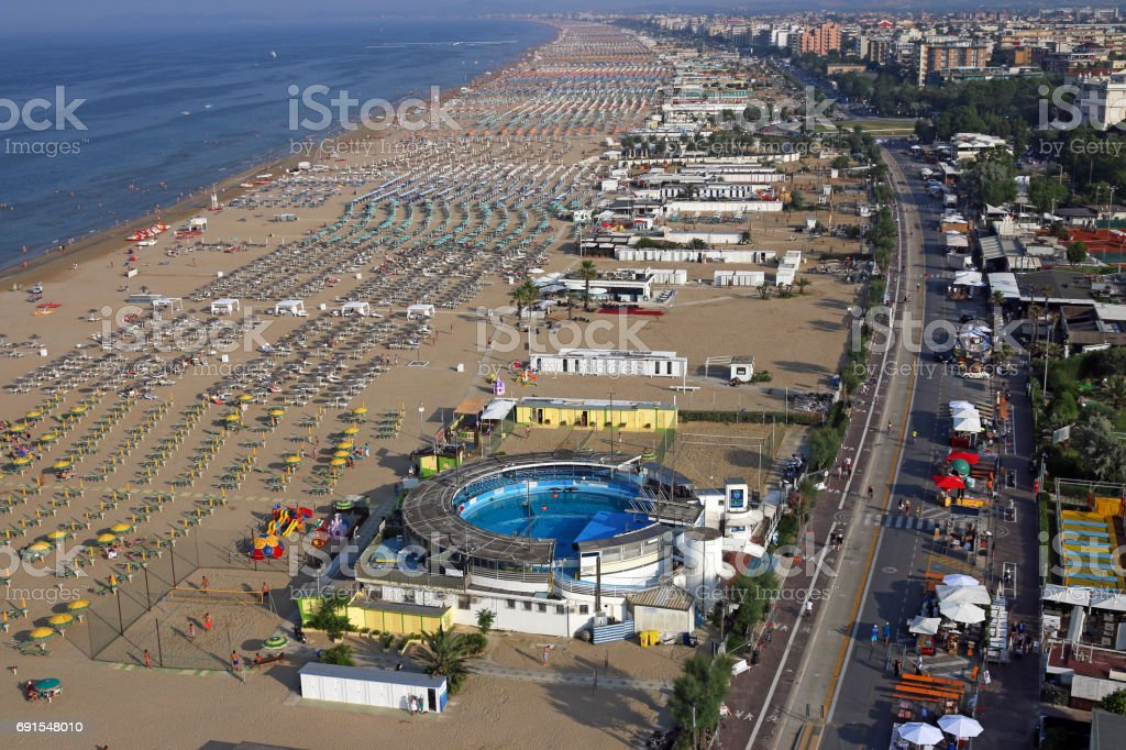 beach Rimini Adriatic sea summer season Italy aerial view stock photo