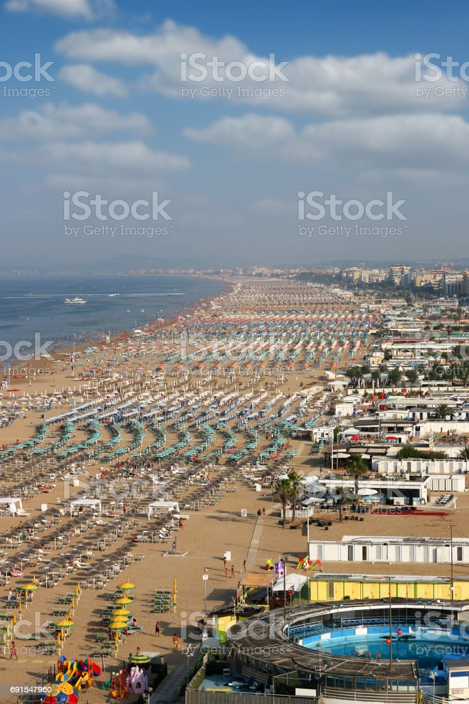 beach Rimini Adriatic sea summer season Italy stock photo
