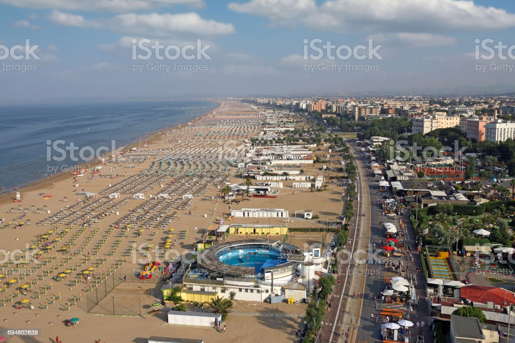 beach Rimini cityscape summer season stock photo