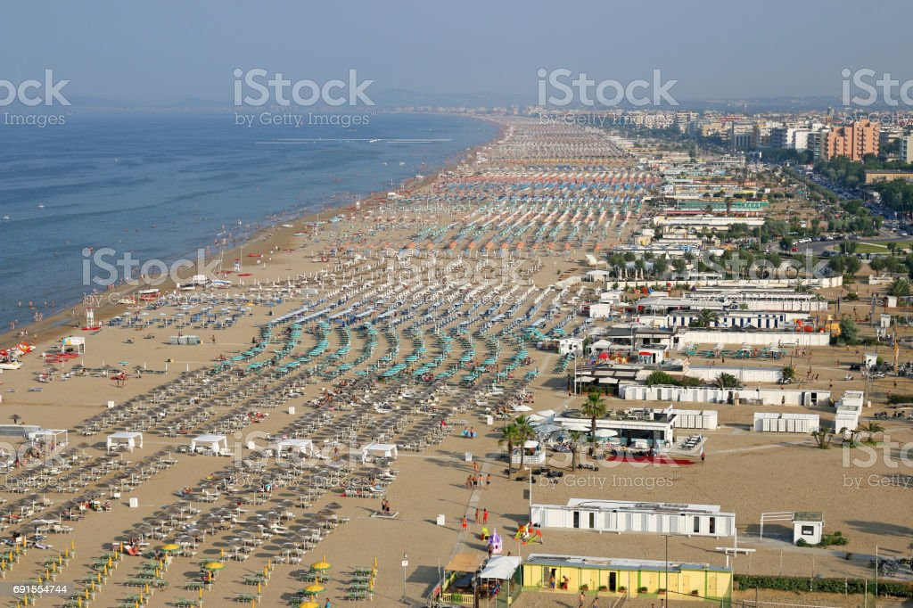 beach Rimini Italy aerial view summer season stock photo