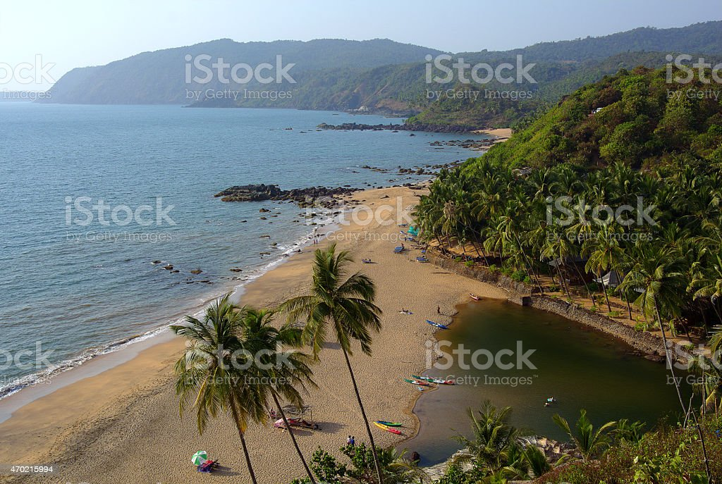 Beach. River. Goa. India. stock photo