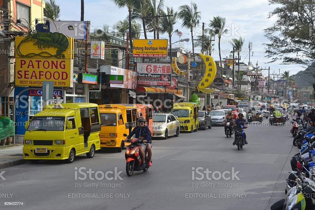 Beach road in Patong, Thailand stock photo