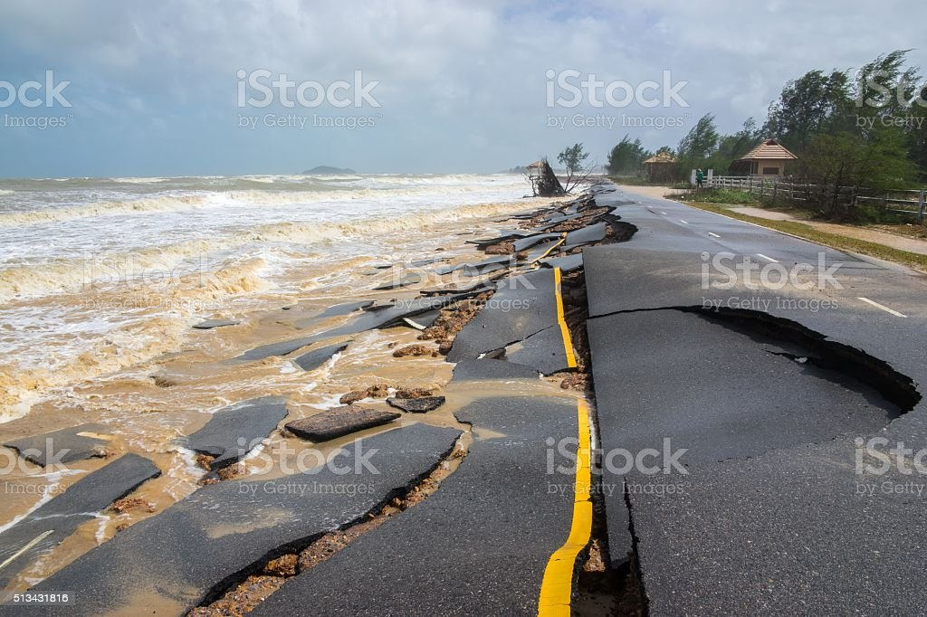 Beach Road slide by water and wind stock photo