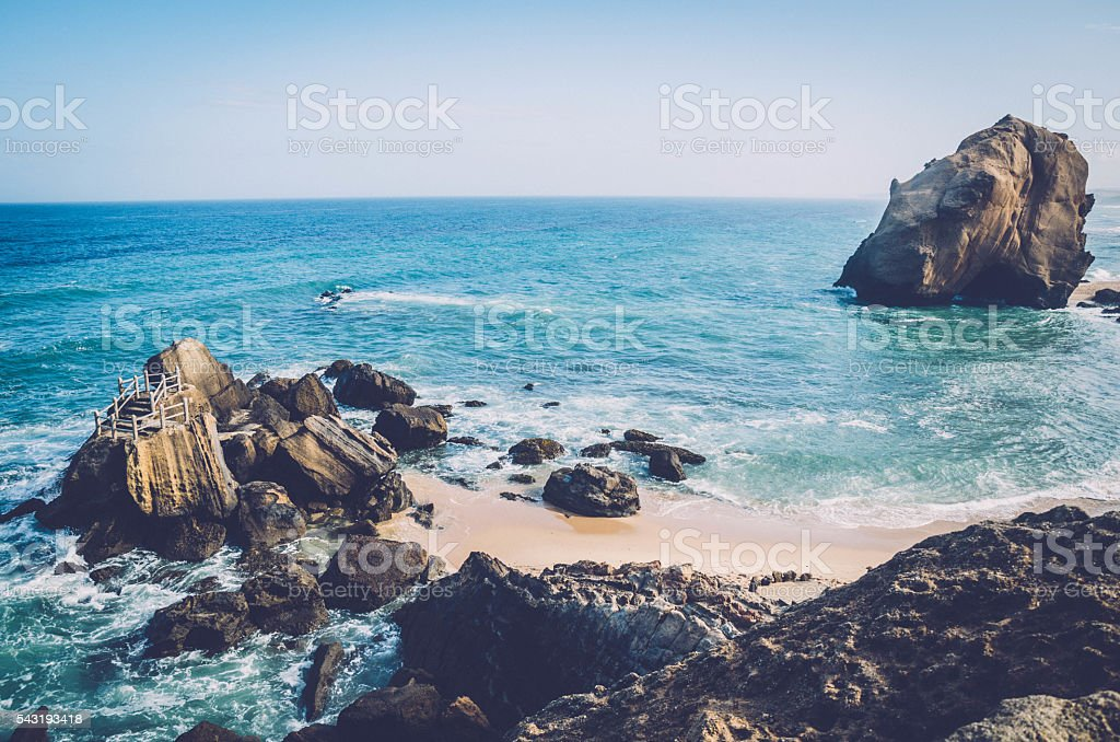 Beach rock cliff in Santa Cruz stock photo