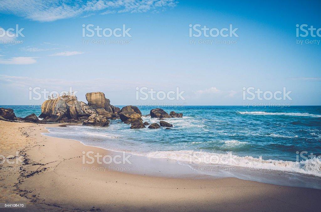 Beach rock cliff in Santa Cruz stock photo