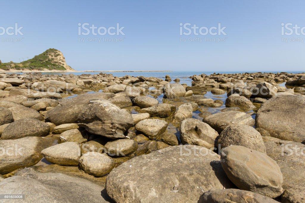Beach rocks close-up in Karpasia, island of Cyprus stock photo