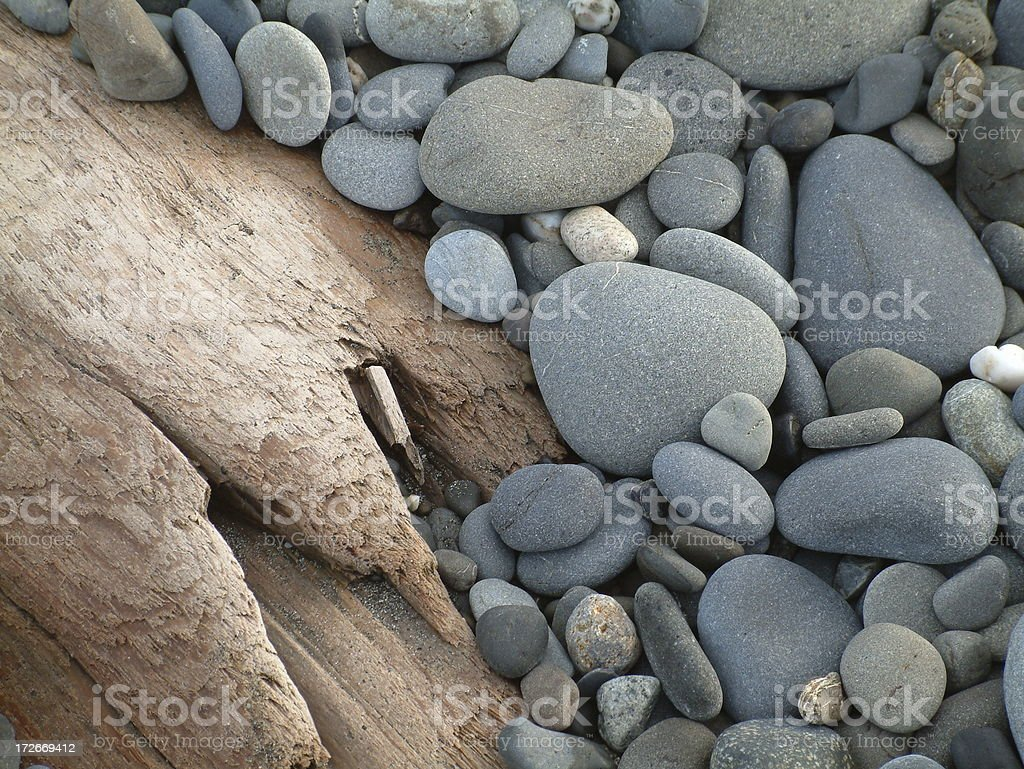 beach rocks & driftwood royalty-free stock photo
