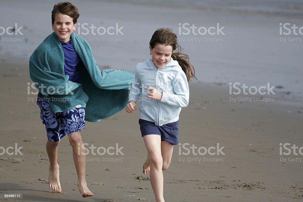 Beach Run royalty-free stock photo