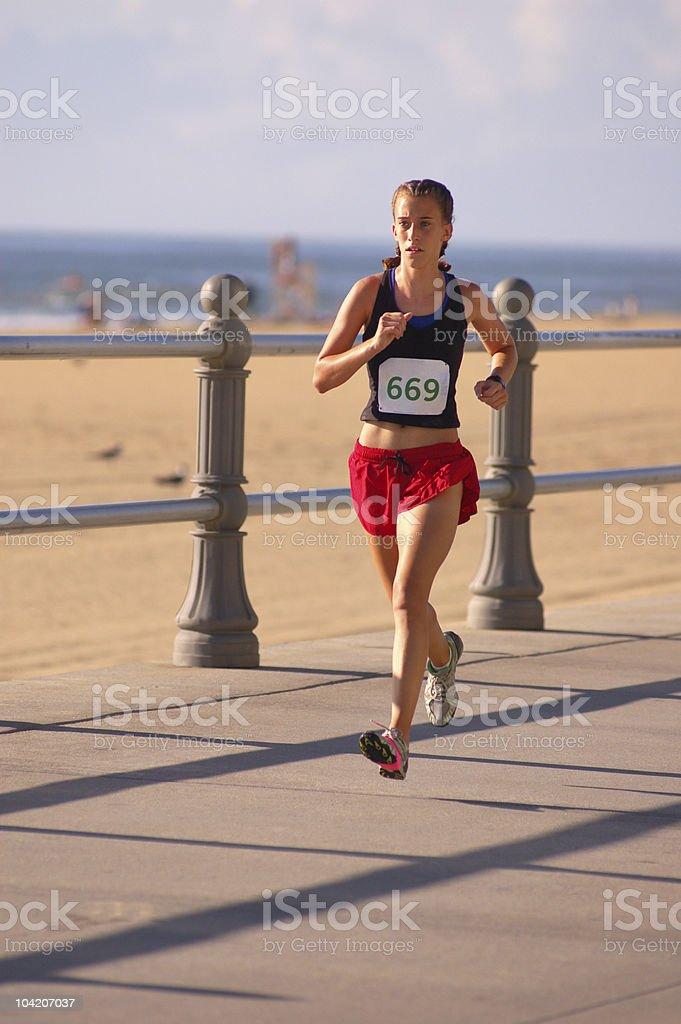 Beach runner stock photo
