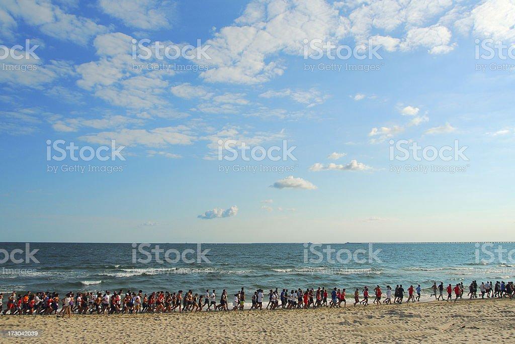 Beach Runners royalty-free stock photo