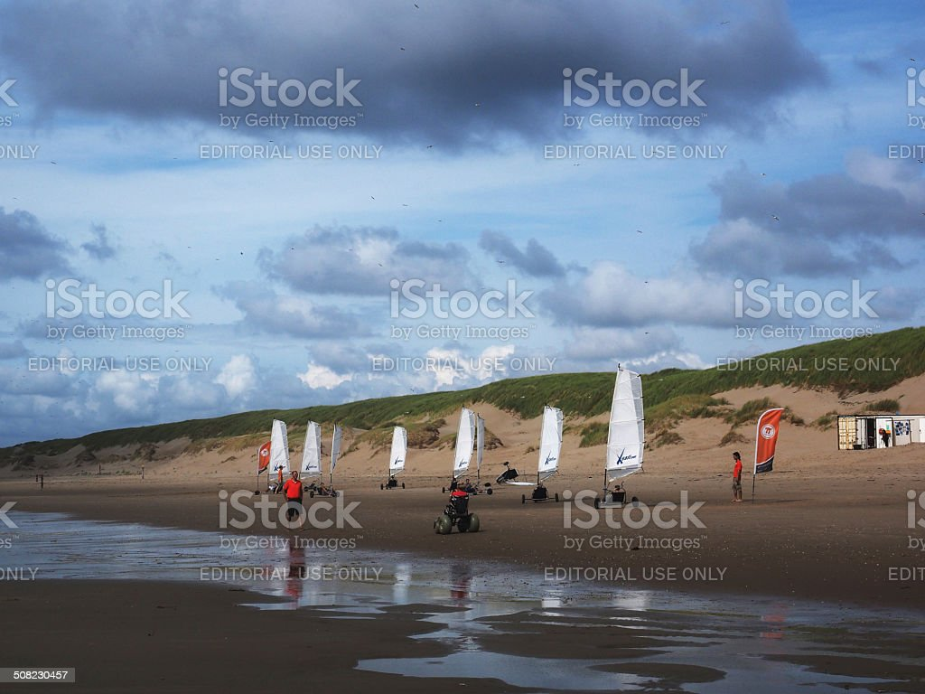 Beach Sailing at Texel, Netherlands stock photo