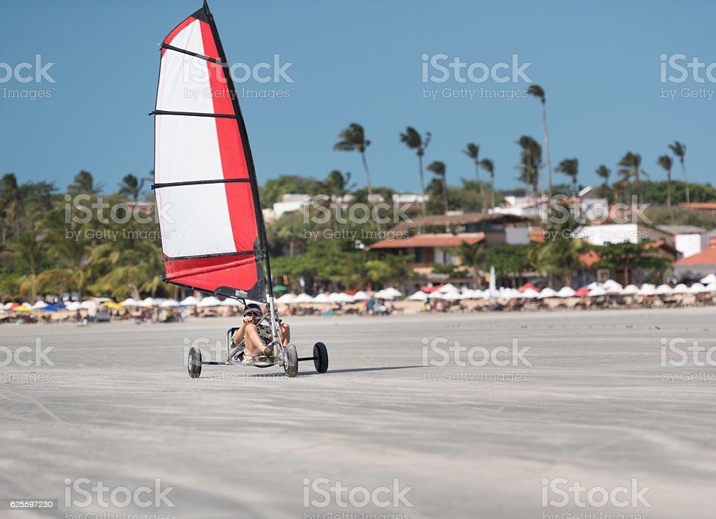Beach Sailing, Terrasailing in Jericoacoara, Brazil stock photo