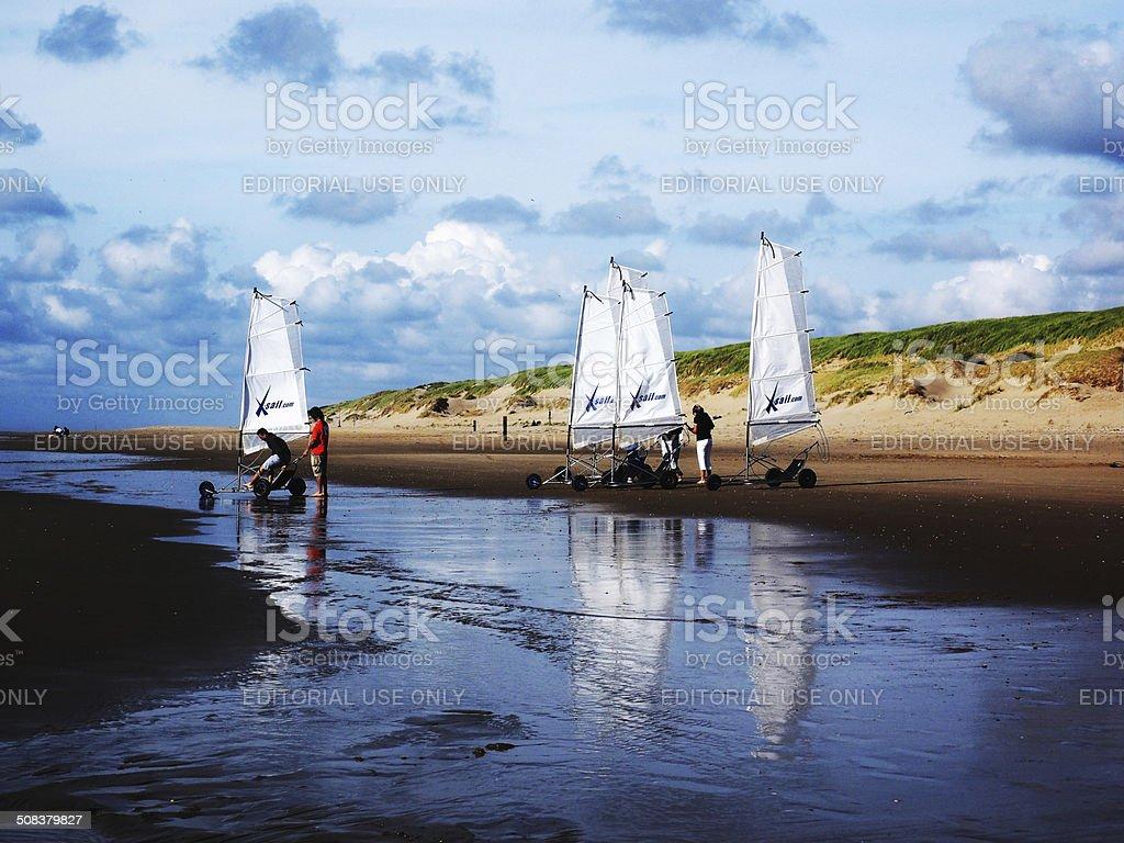Beach Sailing, Texel stock photo