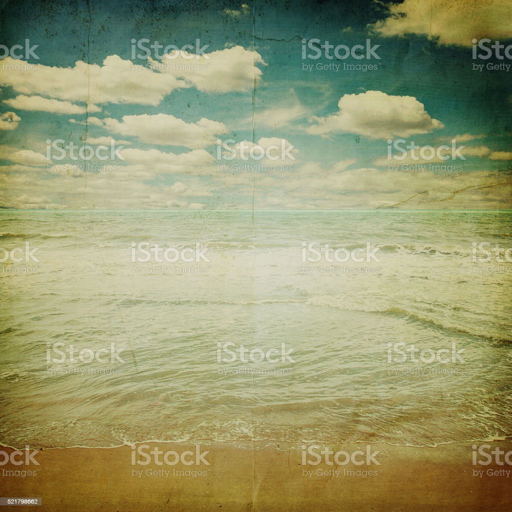 beach sand and sea with retro style stock photo
