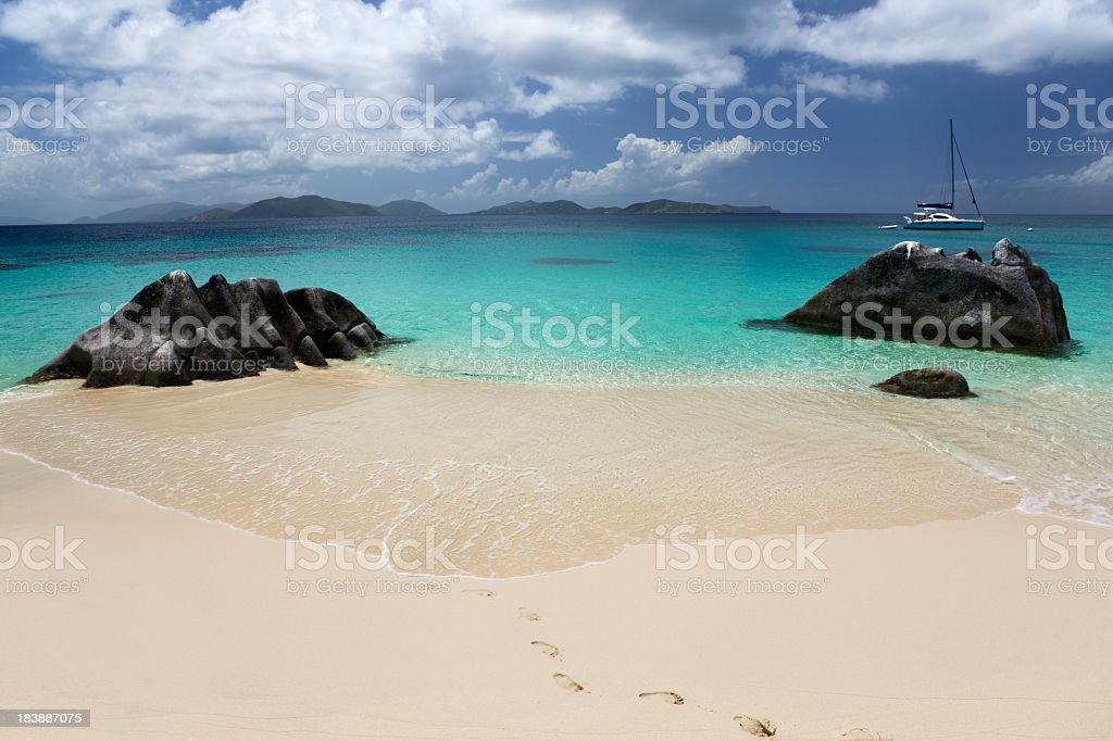 beach scene at The Baths in Virgin Gorda, BVI stock photo