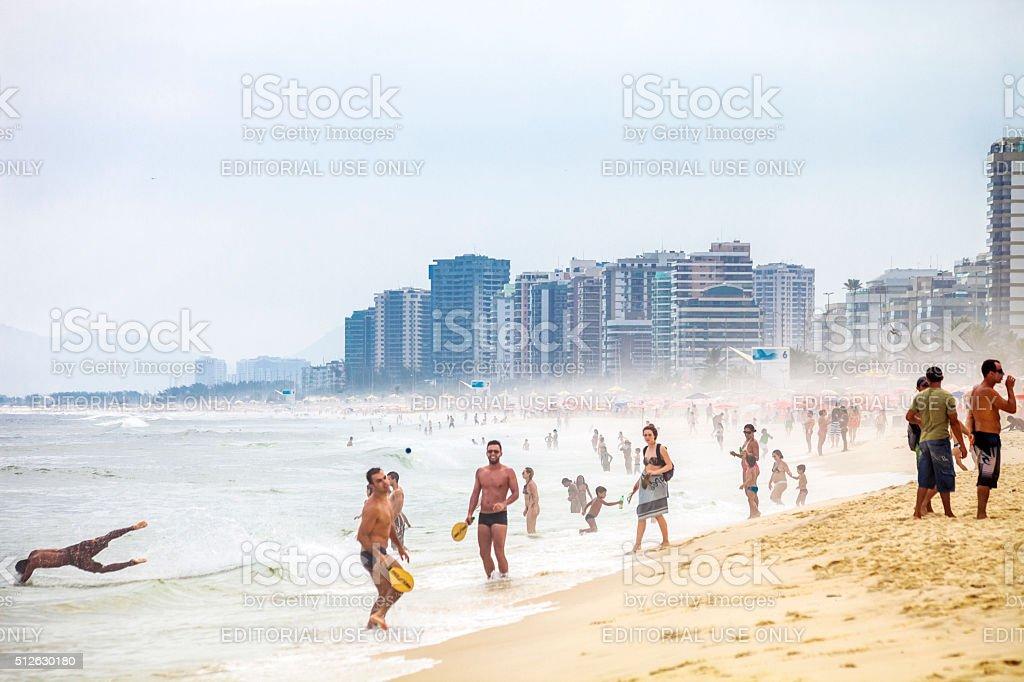 Beach scene. Barra da Tijuca, Brazil. stock photo