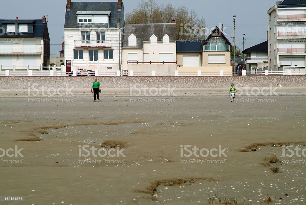 Beach Scene in France with houses royalty-free stock photo