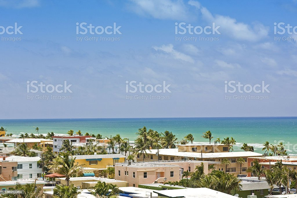 A beach scene in Hollywood Florida in the summer stock photo