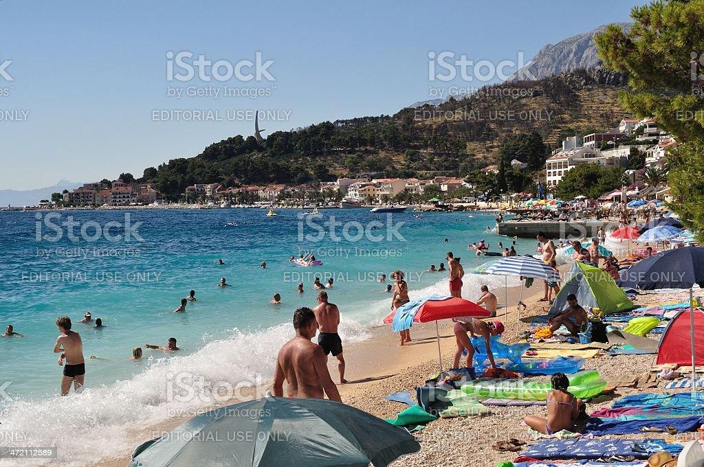 Plaży scena w Podgora, Chorwacja zbiór zdjęć royalty-free