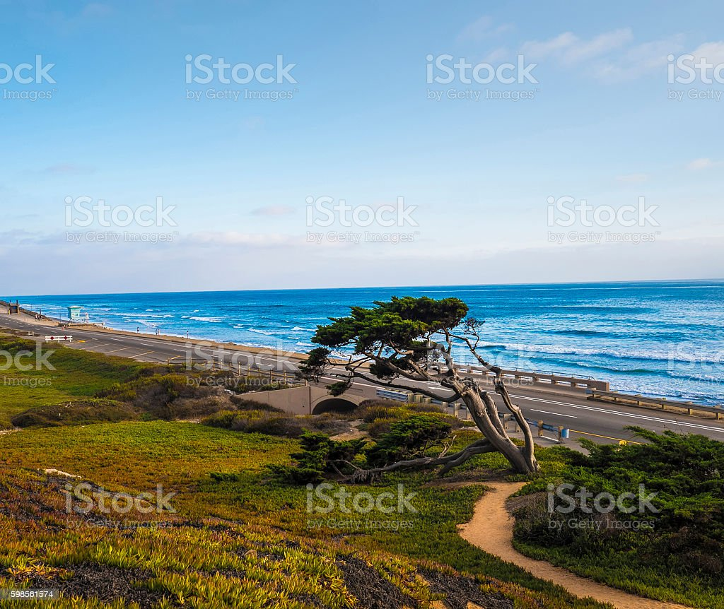 Beach scene in San Diego California stock photo