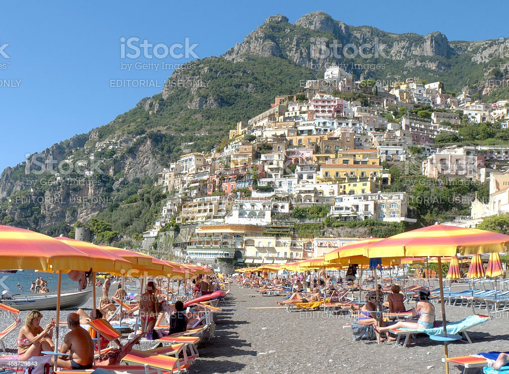 Beach Scene, Positano, Italy stock photo