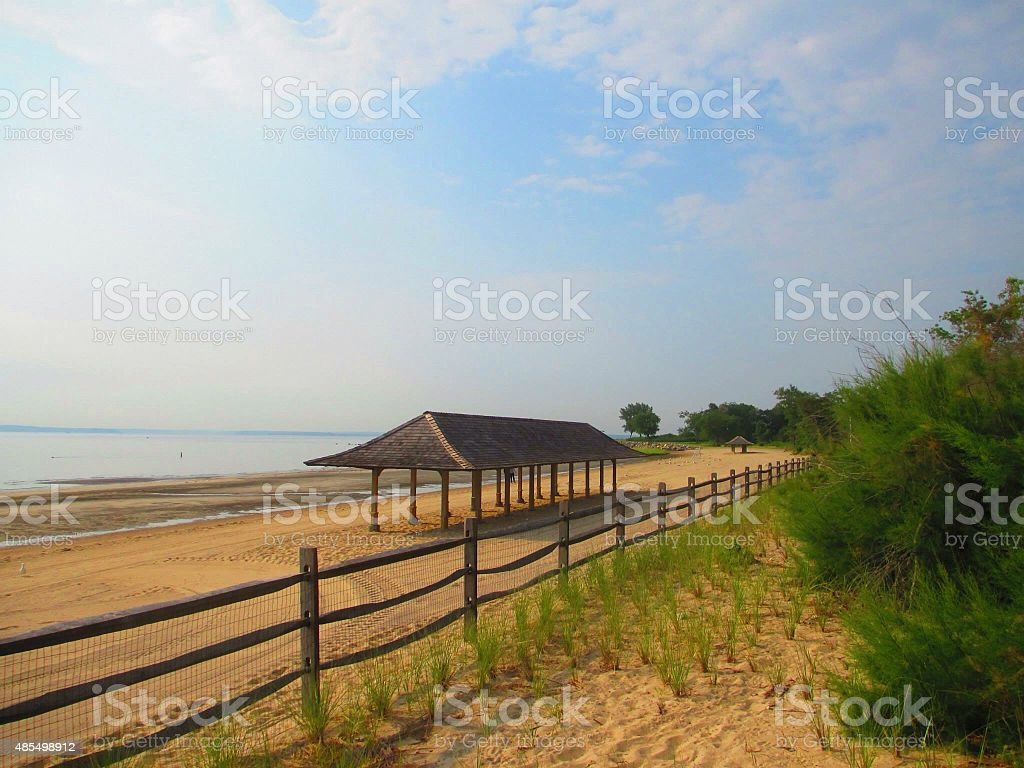 Beach Scene, Tod's Point, Old Greenwich, CT stock photo