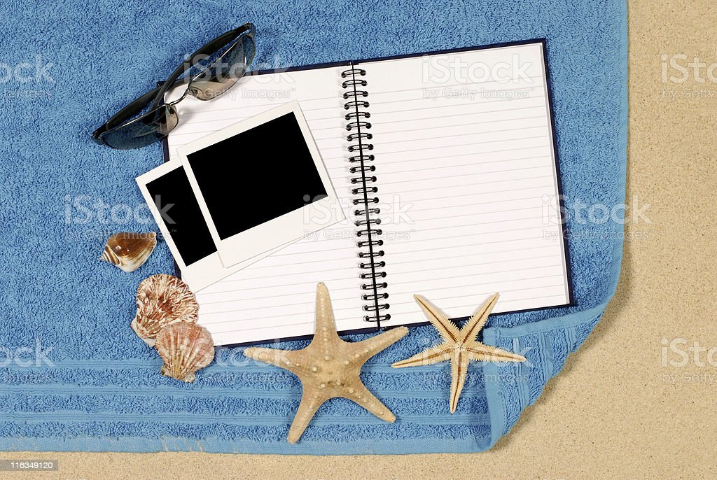 Beach scene with blank book royalty-free stock photo