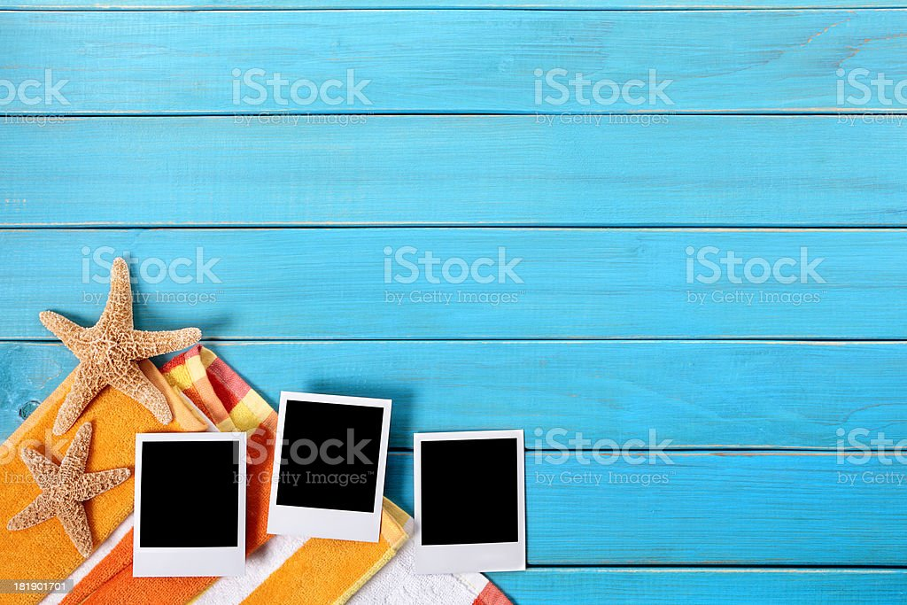 Beach scene with blank photo prints royalty-free stock photo