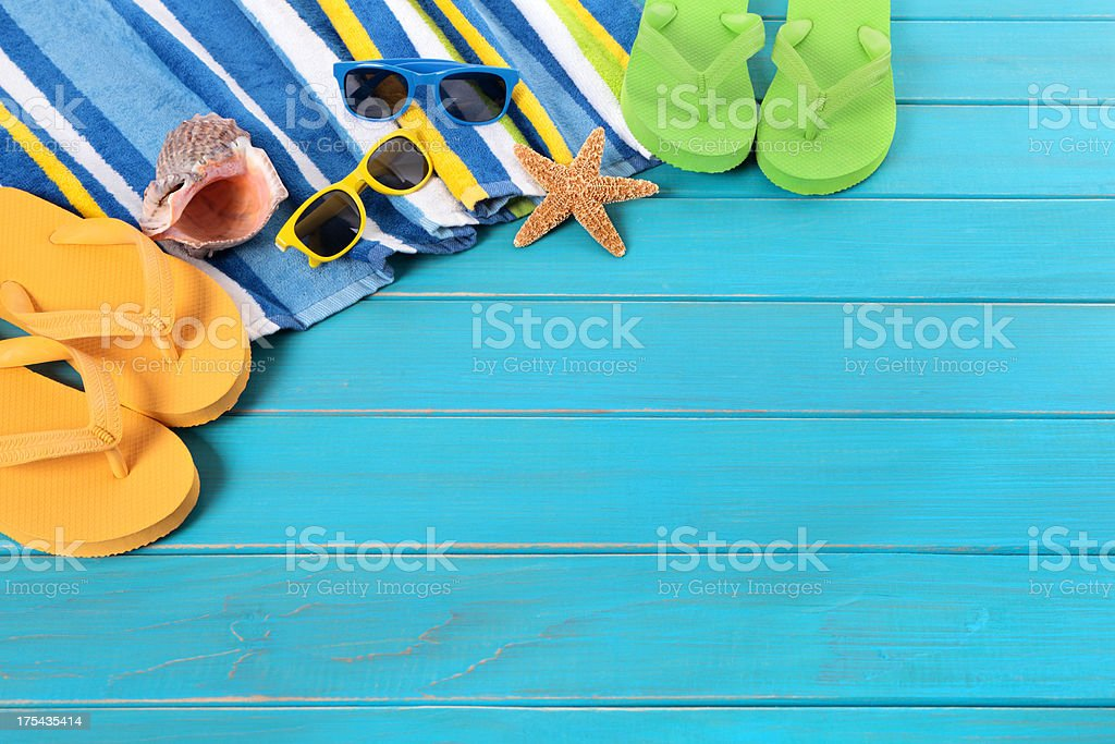 Beach scene with blue decking royalty-free stock photo