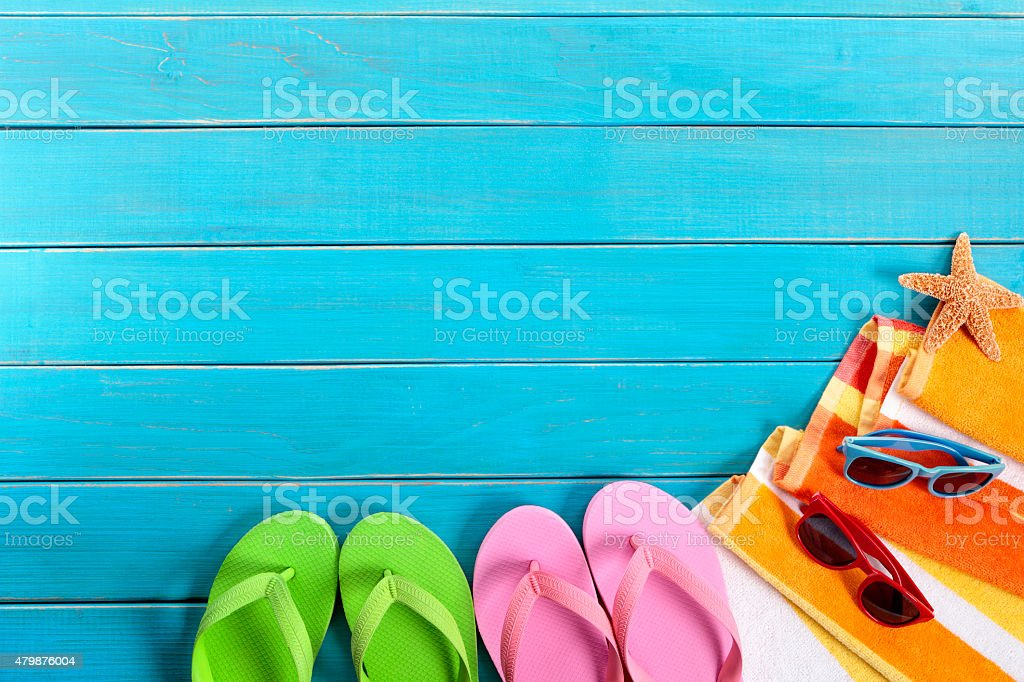 Beach scene with blue wood decking stock photo