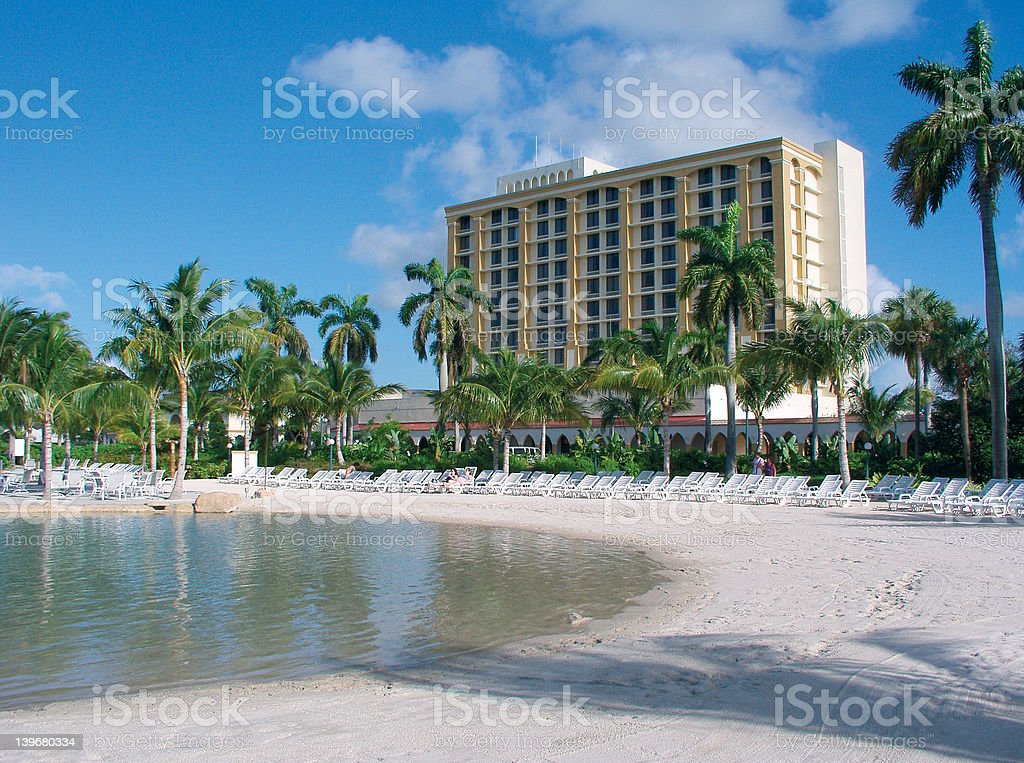 Beach scene with hotel in background royalty-free stock photo