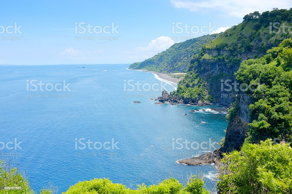 Beach scenery of Bali from Asah Hill Karangasem Bali stock photo