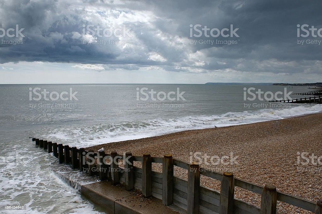 Beach, sea and sky, south of England stock photo