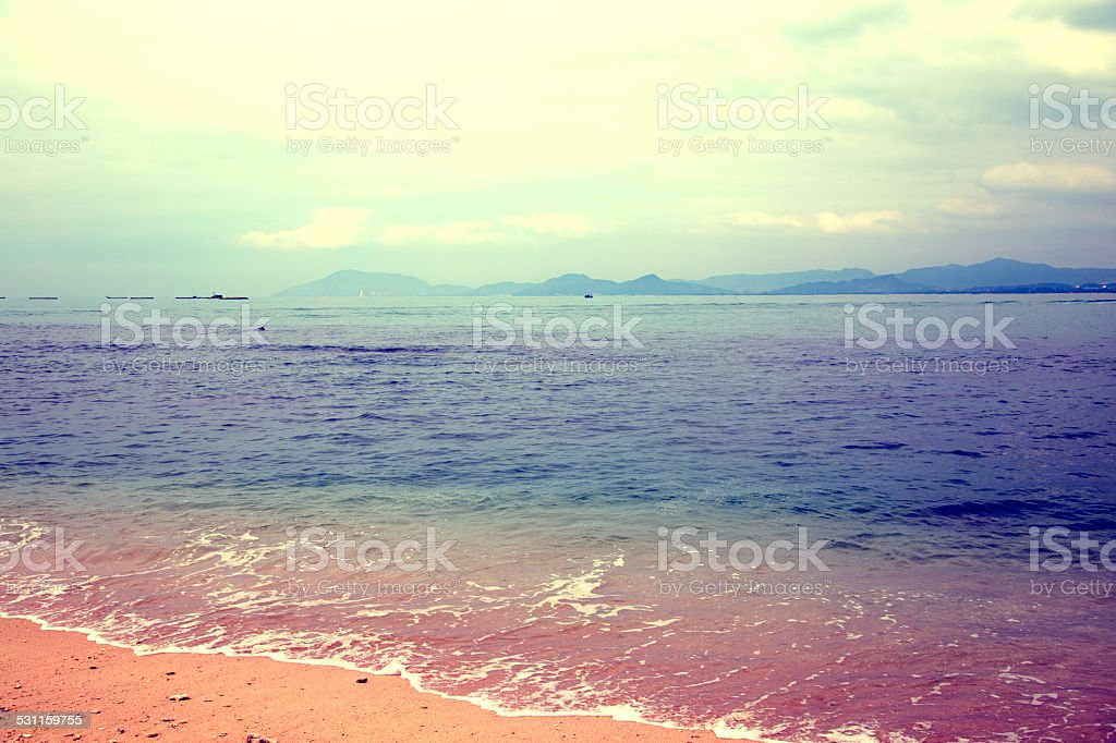 Beach, Sea, Vibrant Color, Tourist Resort, stock photo