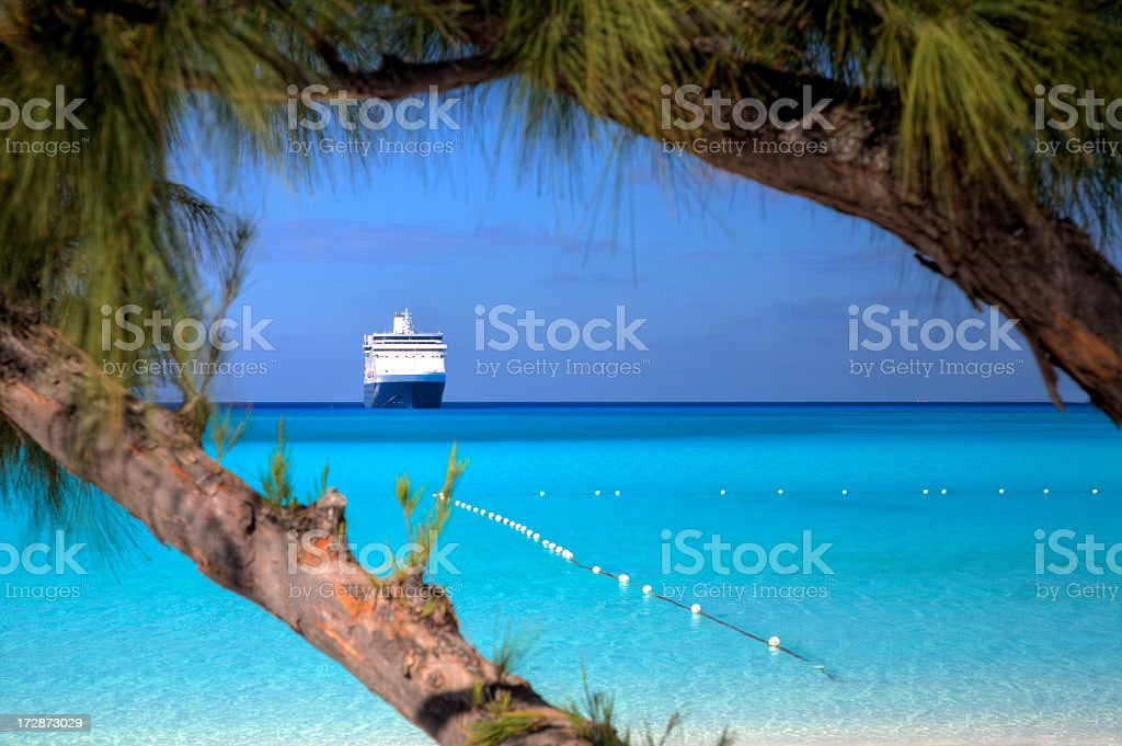 Beach, Seas and Ship stock photo