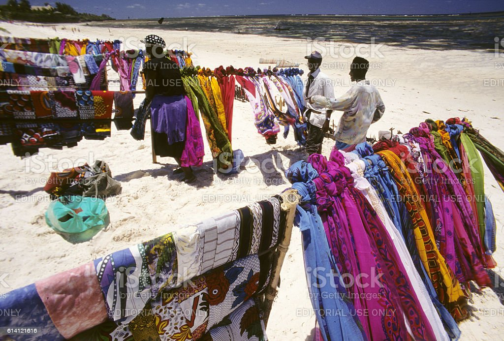 Beach seller kangas on display at Diani beach, Kenya stock photo