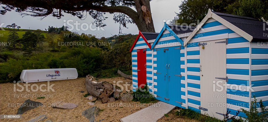 Beach shacks on blackpool sands lifegaurd stock photo