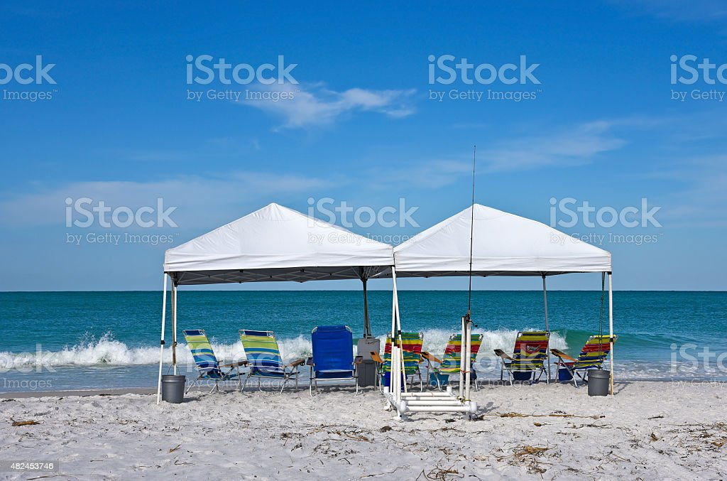 Beach Shelter and Chairs stock photo