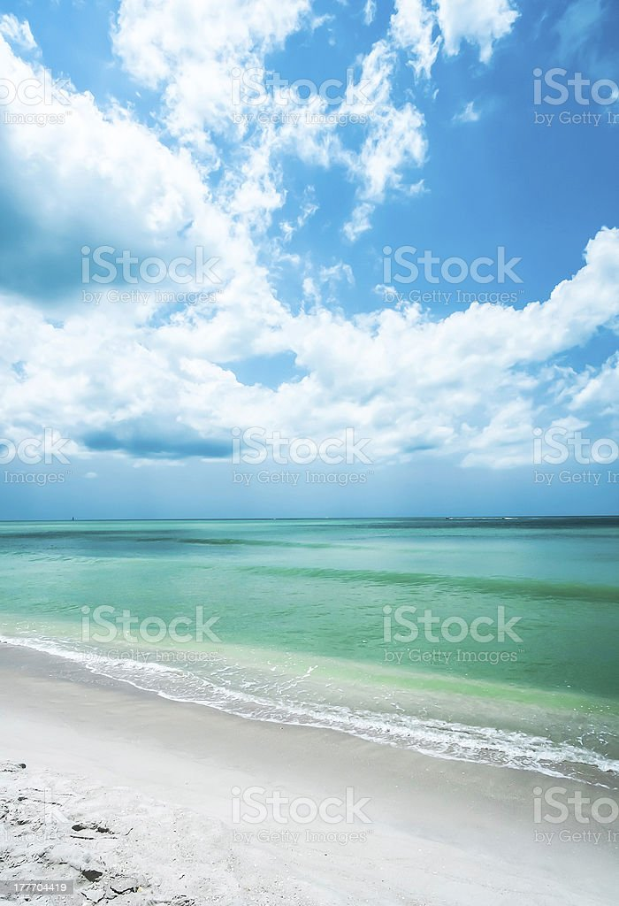 Beach Shoreline and Cloudscape, Relaxation, Naples Florida USA stock photo