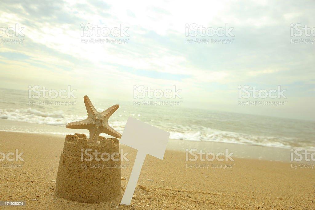 Beach Side Message stock photo