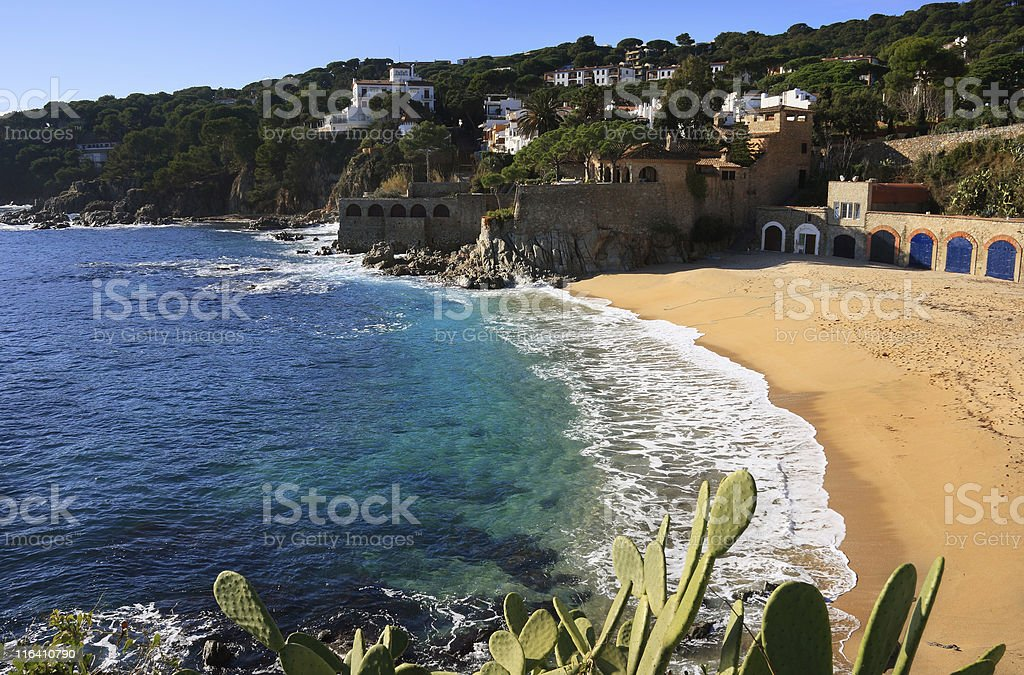 Beach side view at Calella de Palafrugell in Costa Brava  royalty-free stock photo