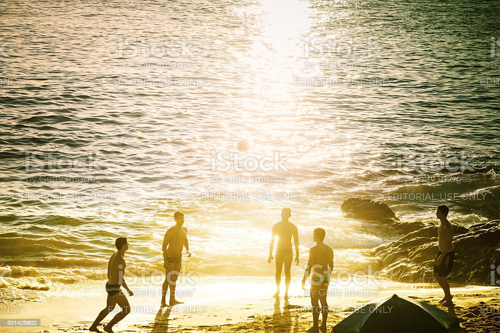 beach soccer at Barra beach in Salvador Brazil at sundown stock photo